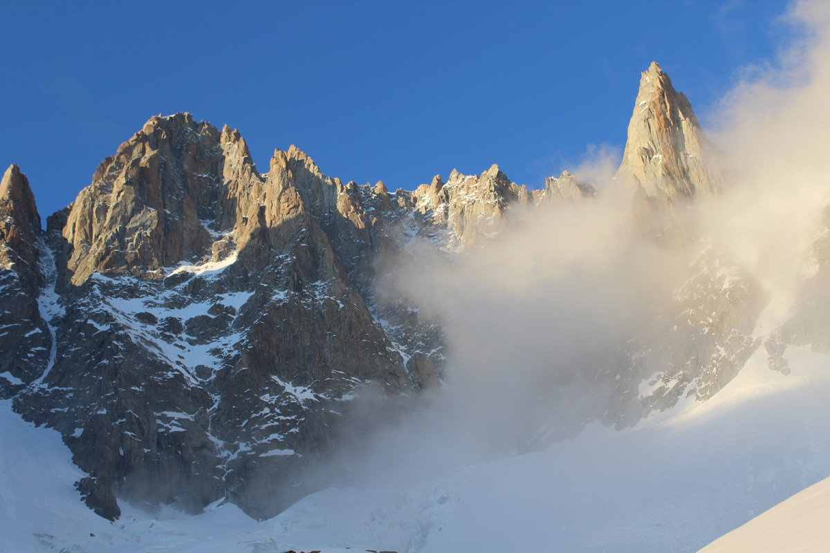South face of Aiguille Verte bathing in the sun light