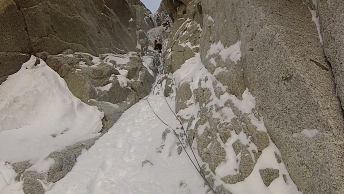 Wouter on the first steep pitch