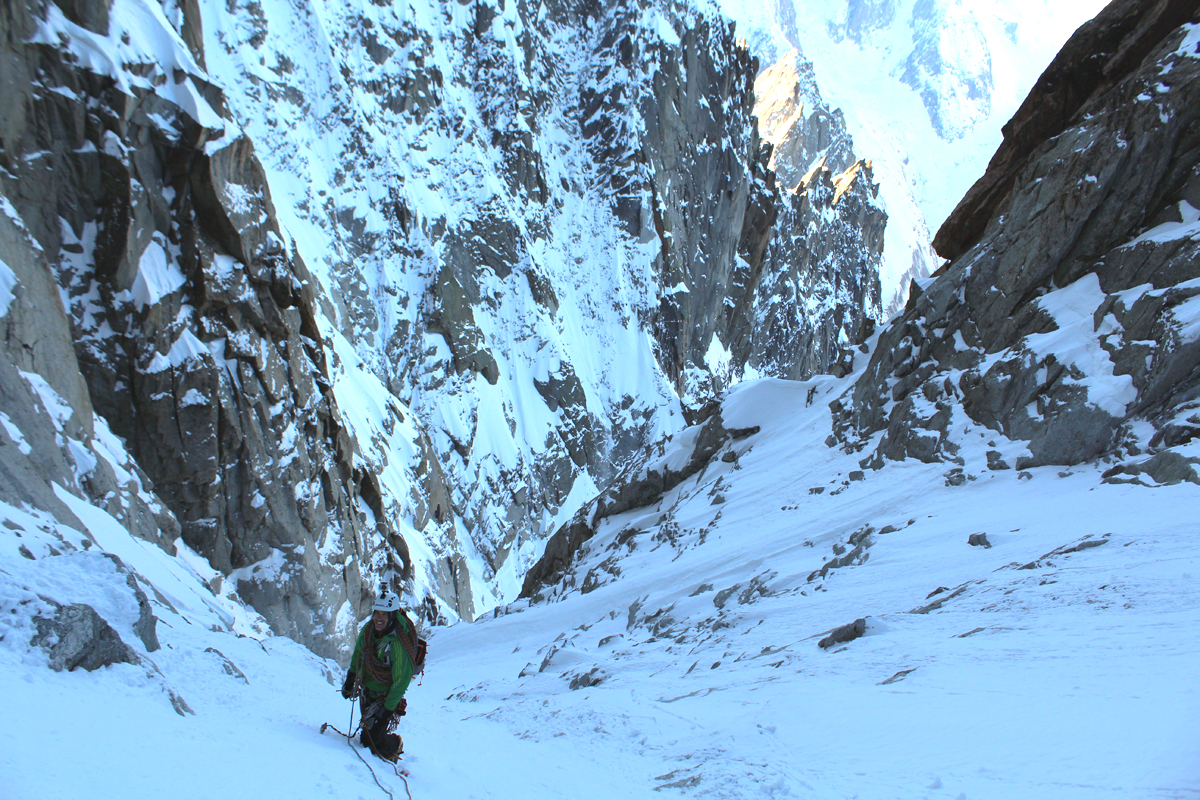 Close to the mixed finish of the couloir