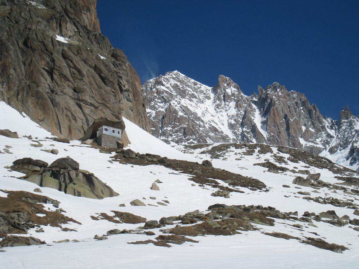We descended the Whymper Couloir (seen in the back) and slept in the Couvercle hut