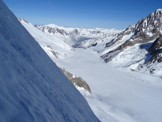 Blik vanuit de noordwand richting Argentière